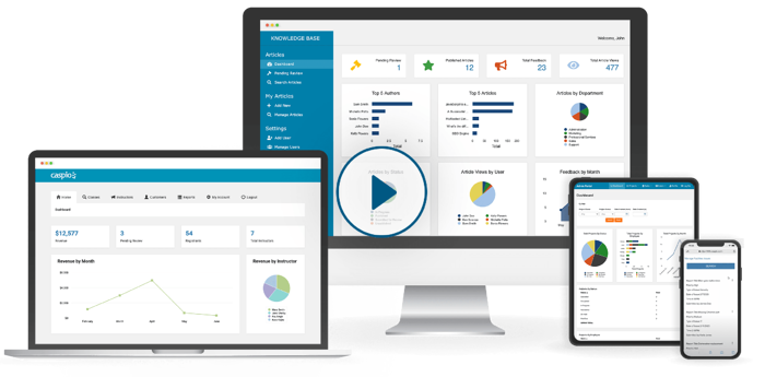 Caspio online dashboards shown across multiple devices with play button at the center