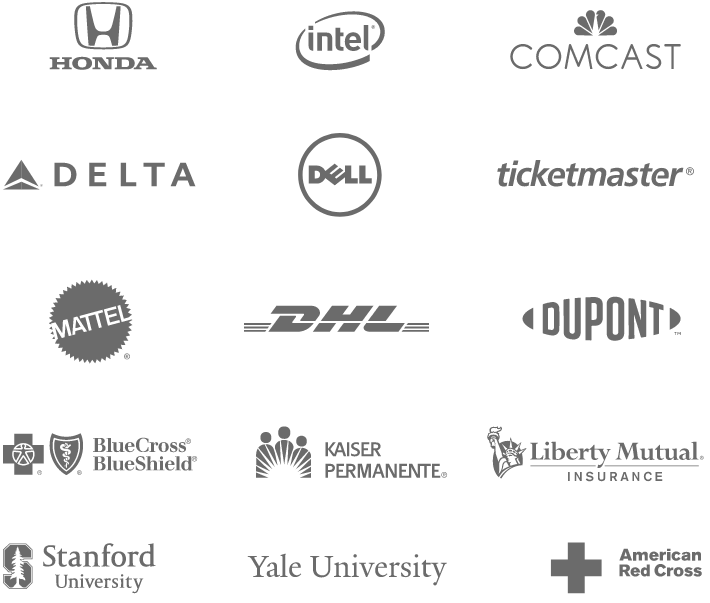 Caspio customer logos that include Honda, Intel, Comcast, Delta, Dell, Ticketmaster, Mattel, DHL, Dupont and more